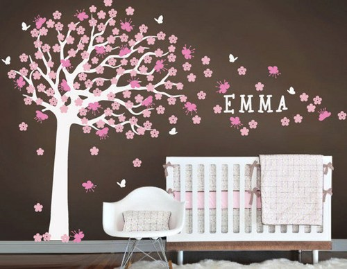 Nursery Large Cherry Blossom Flower Tree With Custom Name Home Art - Custom vinyl wall decals flowers