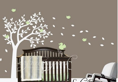Stickers Living Room Bed Baby Nursery Cute Squirrel Bird Summer Tree Leaf Leaves Home Art Decals Wall Sticker
