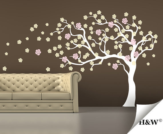 Elegant Wall Sticker Art Murals Stickers Decor Removeable Wind Tree Wall Decal  Spring Trees Flower Flowers