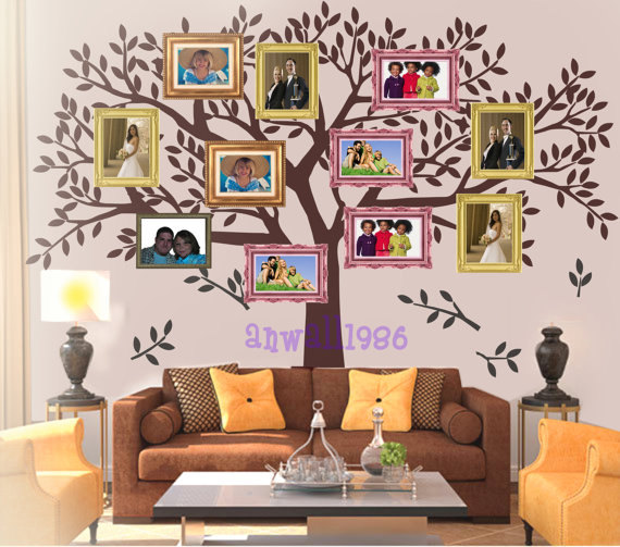 bf86c91ef5f wall sticker Art Murals stickers decal decor removeable-family photos big  tree leaf leaves falling