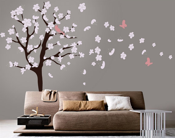 Vinyl wall decal nursery large cherry blossom tree with custom name home house art wall decals