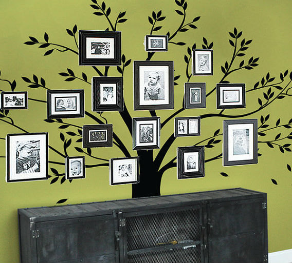 efa16877784 family photos big tree leaf leaves falling frame room house home wall  sticker Art Murals stickers