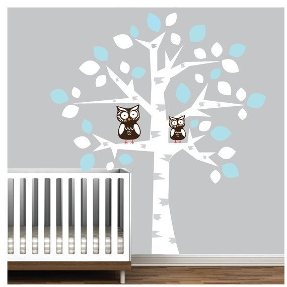 vinyl wall decal nursery kids tree decals owl owls baby room Wall Sticker stickers mural murals  sc 1 st  Luulla & Vinyl Wall Decal Nursery Kids Tree Decals Owl Owls Baby Room Wall ...