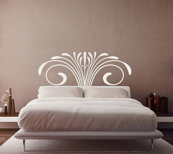 Headboard decal vinyl wall decal queen size bedromantic flower vine classical decals home wall sticker stickers