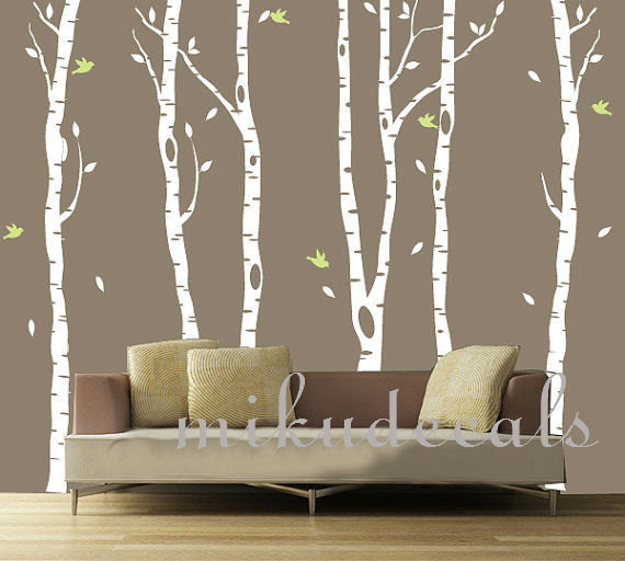 Vinyl Wall Decals White Tree Decal Nursery Six Birth Trees Birds Leaf Bird  Trees Home House