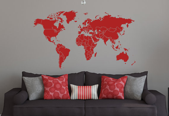 Vinyl wall decal 59w large size world map decals countries borders vinyl wall decal 59 gumiabroncs Choice Image