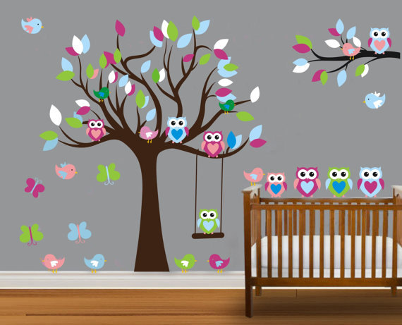 Vinyl Wall Decal On Sale Colorful Nursery Cute Owl Family Tree Trees Owls  Home House Art