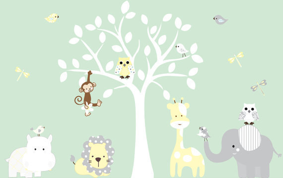 Nursery White Jungle Tree Giraffe Elephant Lion Owl Leaves Home House Art Decals  Wall Sticker Vinyl Part 92