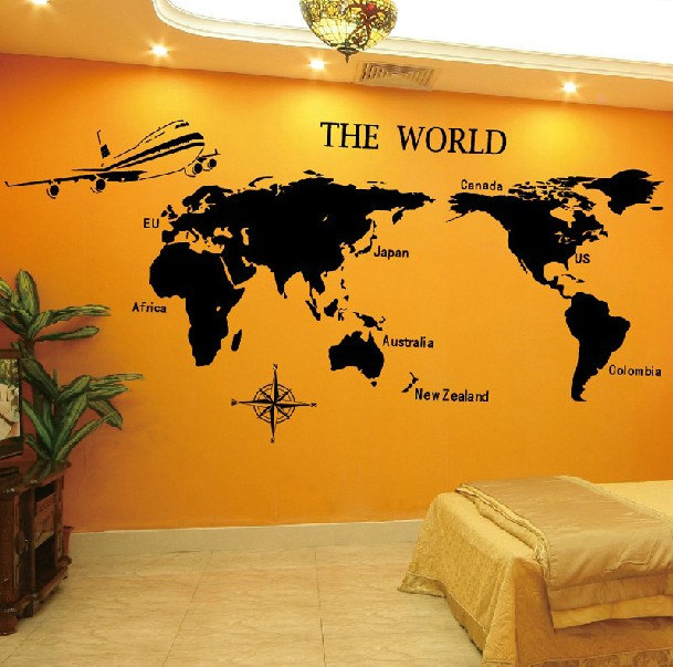 Vinyl Wall Decal World Map Tv Home House Art Wall Decals Wall